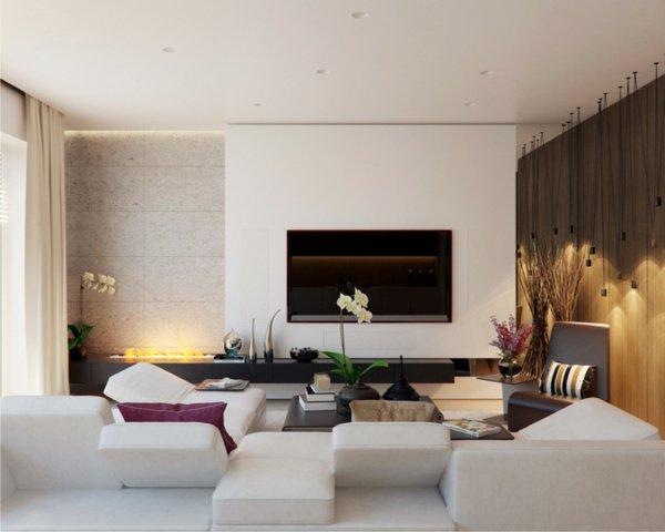 prächtig-modern-Wohnzimmer-Designs-weiß-couch-vase-tisch-feuerstelle